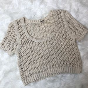 Free People Chunky Knit Short Sleeve Crop Sweater